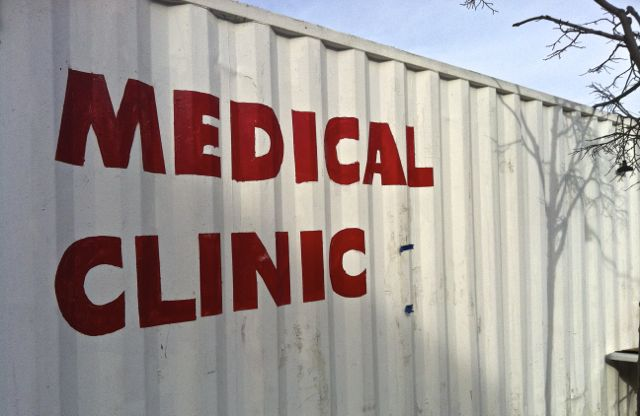 Walk-in Clinic in Coney Island in donated train car that has been custom-fitted as a medical facility.